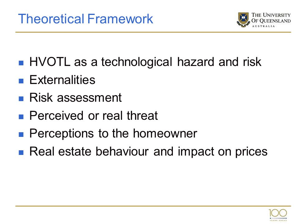 Theoretical Framework HVOTL as a technological hazard and risk Externalities Risk assessment Perceived or real threat Perceptions to the homeowner Rea
