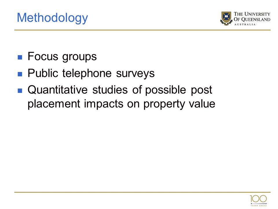 Methodology Focus groups Public telephone surveys Quantitative studies of possible post placement impacts on property value