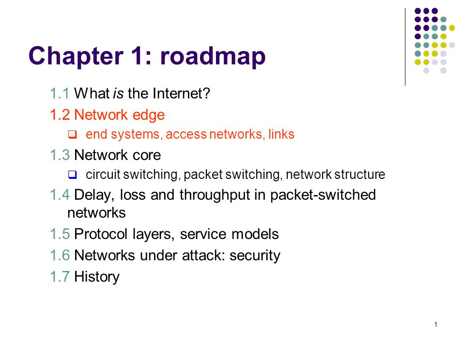 1 Chapter 1: roadmap 1.1 What is the Internet? 1.2 Network edge end systems, access networks, links 1.3 Network core circuit switching, packet switchi