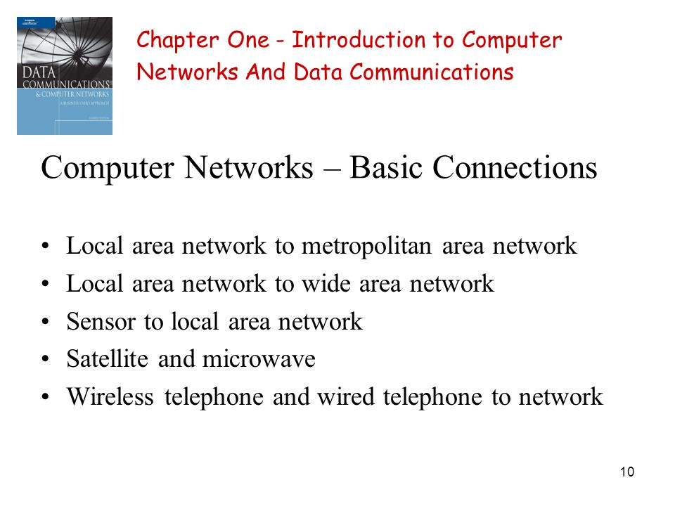 10 Computer Networks – Basic Connections Local area network to metropolitan area network Local area network to wide area network Sensor to local area