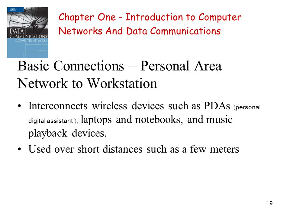 19 Basic Connections – Personal Area Network to Workstation Interconnects wireless devices such as PDAs ( personal digital assistant ), laptops and no