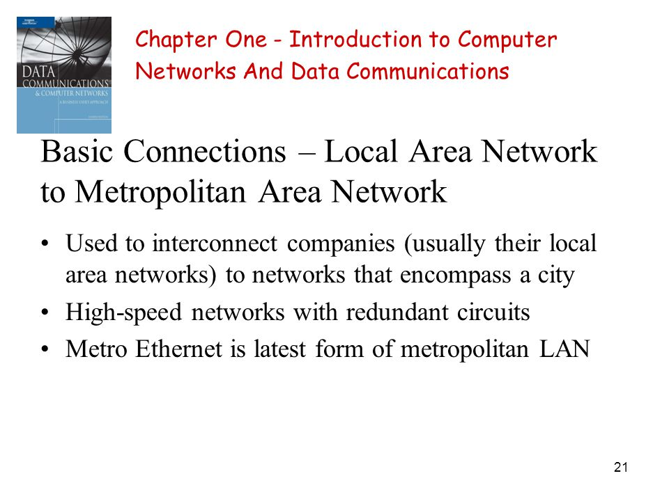 21 Basic Connections – Local Area Network to Metropolitan Area Network Used to interconnect companies (usually their local area networks) to networks that encompass a city High-speed networks with redundant circuits Metro Ethernet is latest form of metropolitan LAN Chapter One - Introduction to Computer Networks And Data Communications