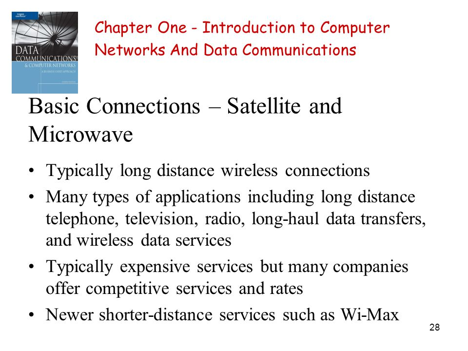 28 Basic Connections – Satellite and Microwave Typically long distance wireless connections Many types of applications including long distance telepho