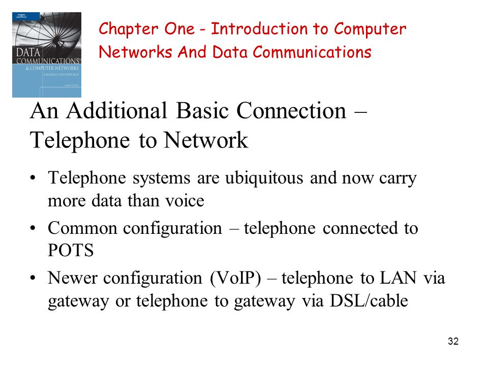 32 An Additional Basic Connection – Telephone to Network Telephone systems are ubiquitous and now carry more data than voice Common configuration – te