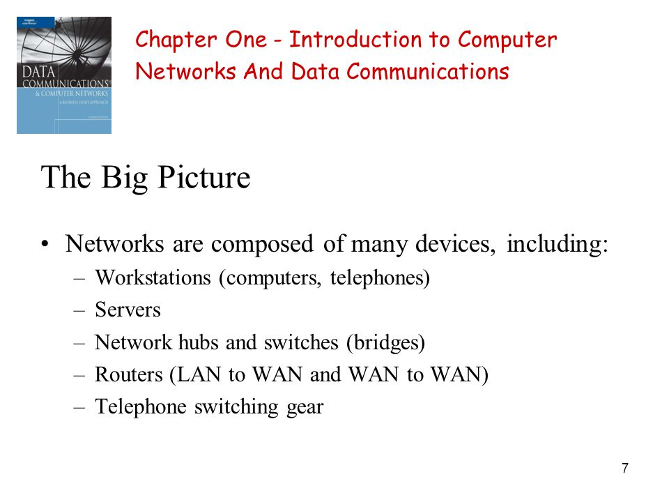 7 The Big Picture Networks are composed of many devices, including: –Workstations (computers, telephones) –Servers –Network hubs and switches (bridges) –Routers (LAN to WAN and WAN to WAN) –Telephone switching gear Chapter One - Introduction to Computer Networks And Data Communications