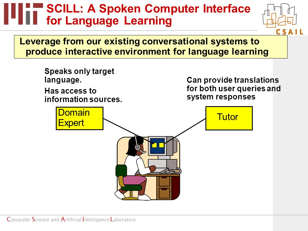 C omputer S cience and A rtificial I ntelligence L aboratory SCILL: A Spoken Computer Interface for Language Learning Speaks only target language.