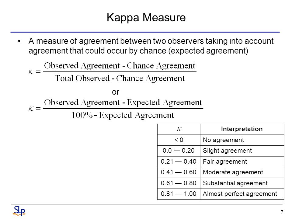7 Kappa Measure A measure of agreement between two observers taking into account agreement that could occur by chance (expected agreement) or Interpretation < 0No agreement 0.0 0.20Slight agreement 0.21 0.40Fair agreement 0.41 0.60Moderate agreement 0.61 0.80Substantial agreement 0.81 1.00Almost perfect agreement