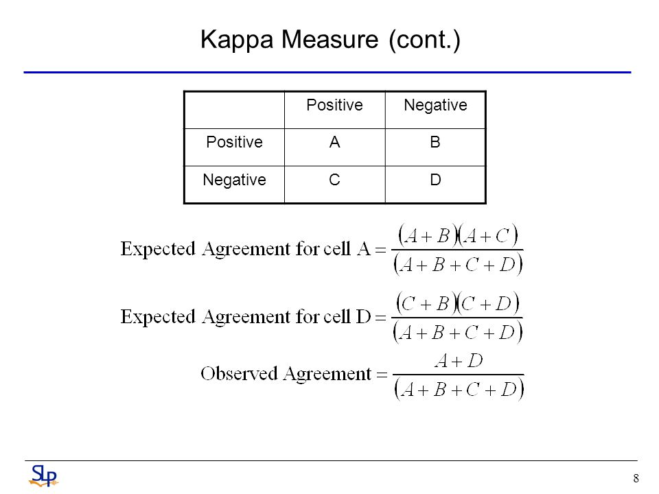 8 Kappa Measure (cont.) PositiveNegative PositiveAB NegativeCD
