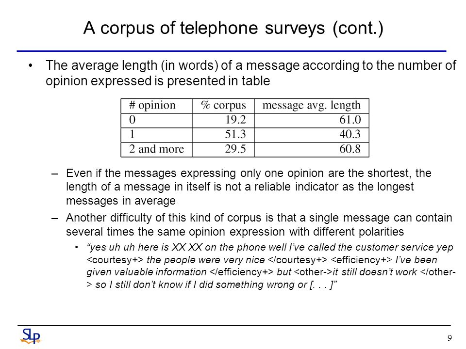9 A corpus of telephone surveys (cont.) The average length (in words) of a message according to the number of opinion expressed is presented in table –Even if the messages expressing only one opinion are the shortest, the length of a message in itself is not a reliable indicator as the longest messages in average –Another difficulty of this kind of corpus is that a single message can contain several times the same opinion expression with different polarities yes uh uh here is XX XX on the phone well Ive called the customer service yep the people were very nice Ive been given valuable information but it still doesnt work so I still dont know if I did something wrong or [...