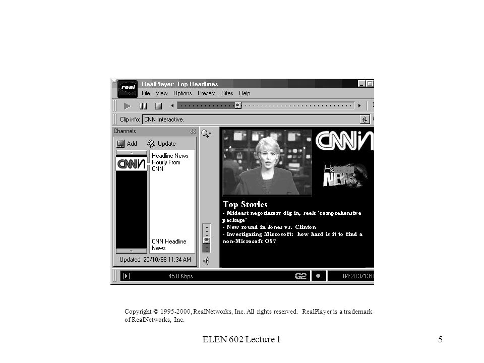 ELEN 602 Lecture 15 Realplayer example Copyright © 1995-2000, RealNetworks, Inc.