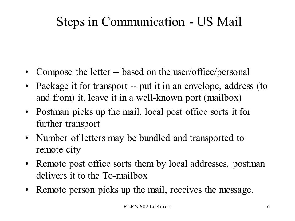 ELEN 602 Lecture 16 Steps in Communication - US Mail Compose the letter -- based on the user/office/personal Package it for transport -- put it in an envelope, address (to and from) it, leave it in a well-known port (mailbox) Postman picks up the mail, local post office sorts it for further transport Number of letters may be bundled and transported to remote city Remote post office sorts them by local addresses, postman delivers it to the To-mailbox Remote person picks up the mail, receives the message.