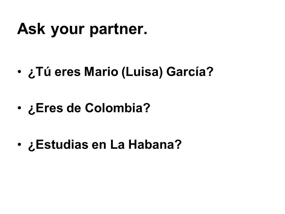 Ask your partner. ¿Tú eres Mario (Luisa) García ¿Eres de Colombia ¿Estudias en La Habana