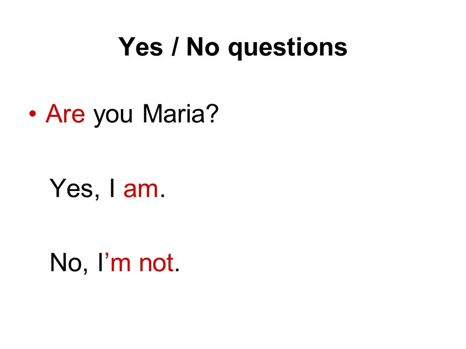 Yes / No questions Are you Maria? Yes, I am. No, Im not.
