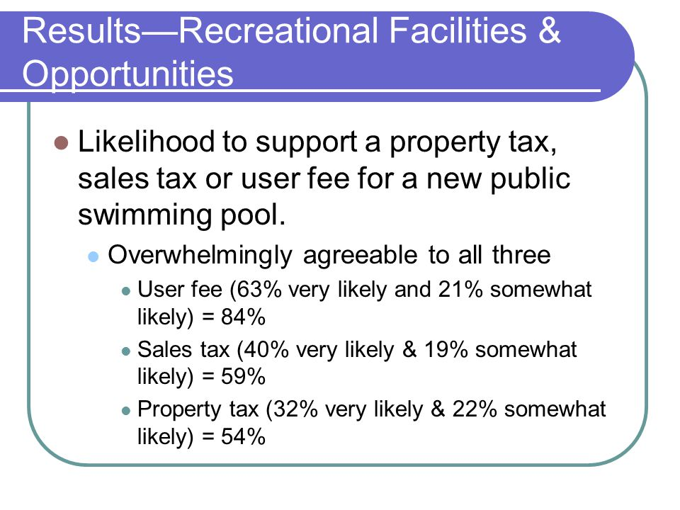 Likelihood to support a property tax, sales tax or user fee for a new public swimming pool. Overwhelmingly agreeable to all three User fee (63% very l