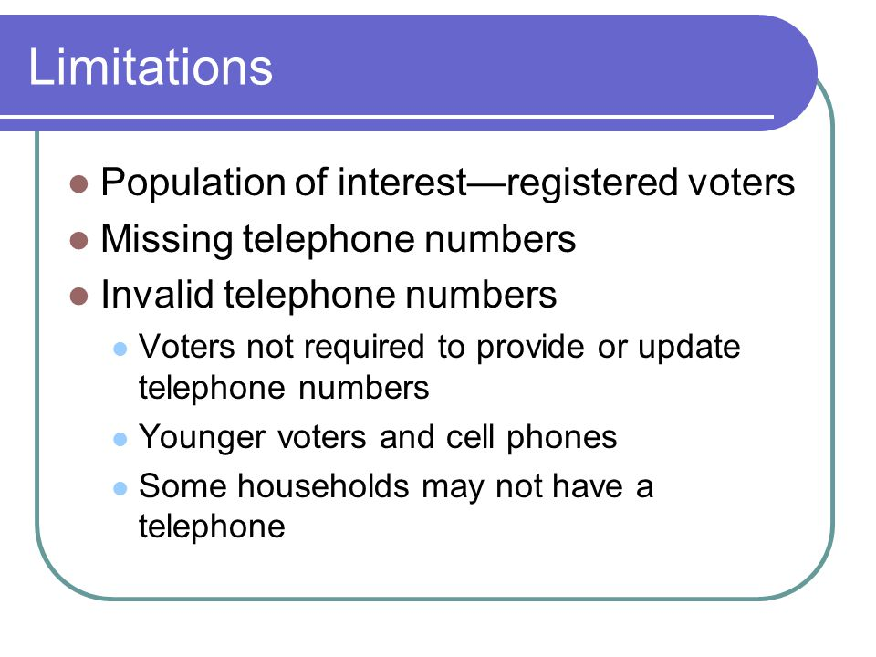 Limitations Population of interestregistered voters Missing telephone numbers Invalid telephone numbers Voters not required to provide or update telep