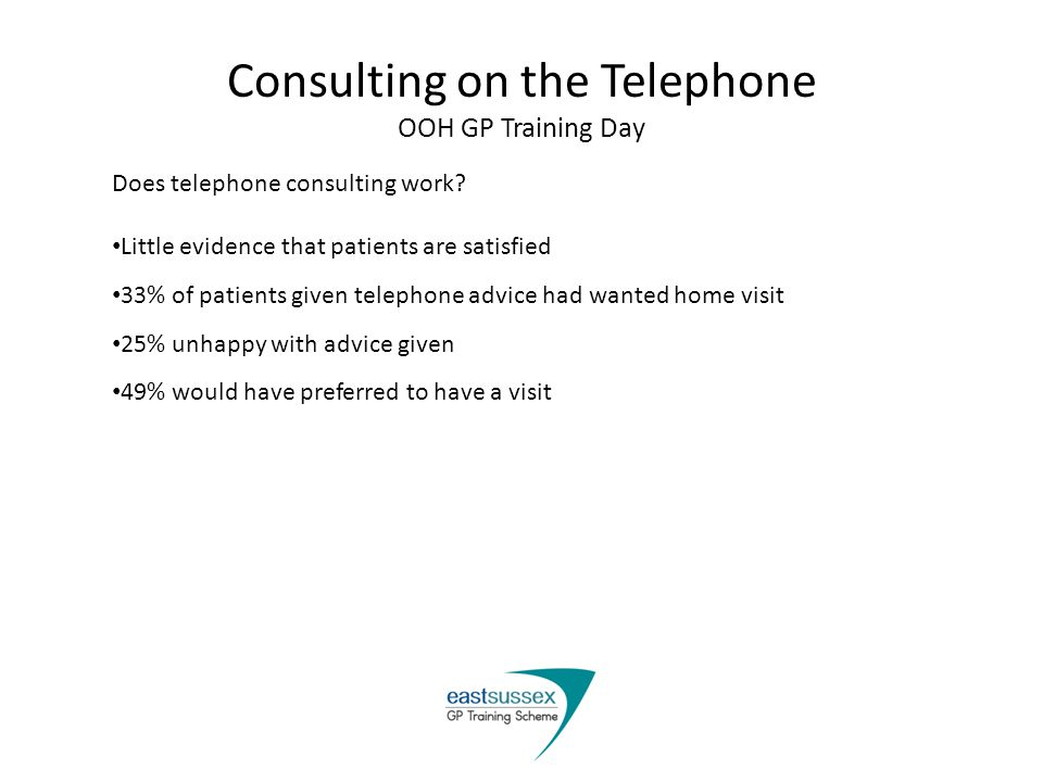 Consulting on the Telephone OOH GP Training Day Does telephone consulting work.