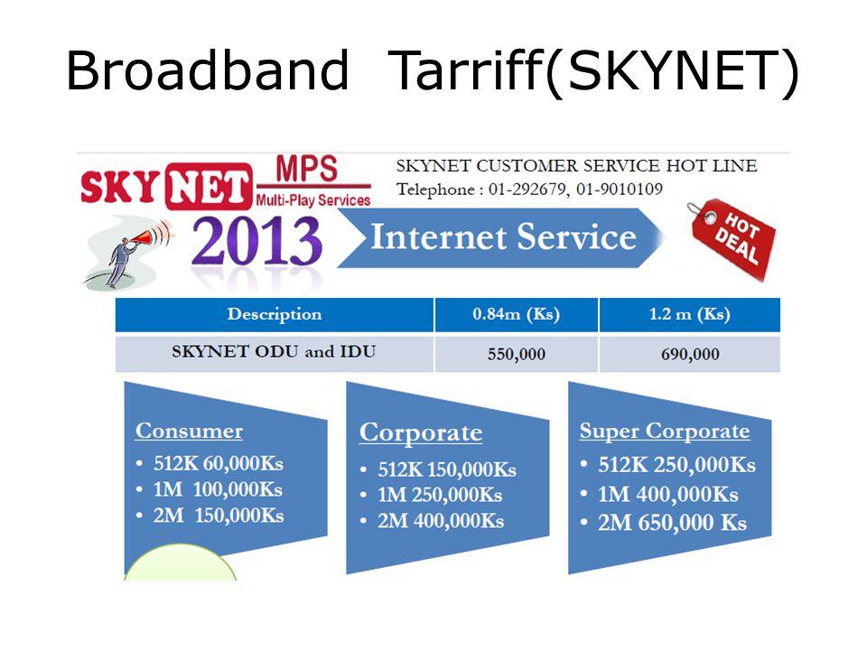 Broadband Tarriff(SKYNET)