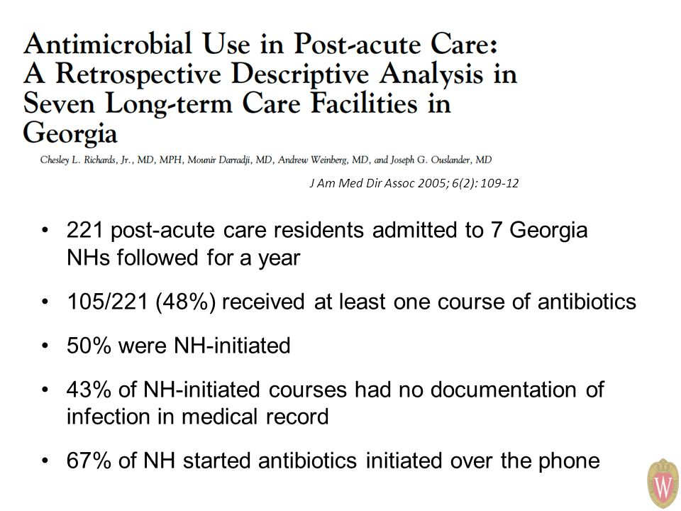 J Am Med Dir Assoc 2005; 6(2): 109-12 221 post-acute care residents admitted to 7 Georgia NHs followed for a year 105/221 (48%) received at least one