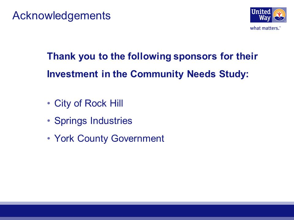 2005 Community Needs Study Copies of this study are available in print, electronic, or on CD by calling United Way of York County 803-324-2735 Visit us online: www.unitedwayofyc.org Thank you for investing in what matters… our community.