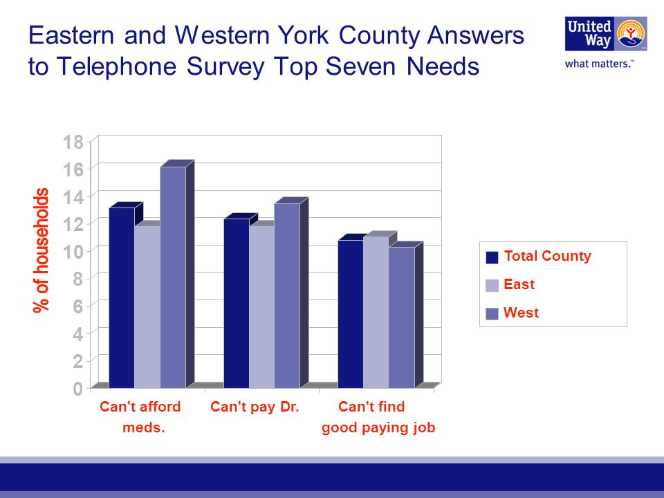 Eastern and Western York County Answers to Telephone Survey Top Seven Needs 0 2 4 6 8 10 12 14 16 18 Can t afford meds.