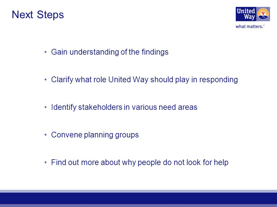 Next Steps Gain understanding of the findings Clarify what role United Way should play in responding Identify stakeholders in various need areas Conve