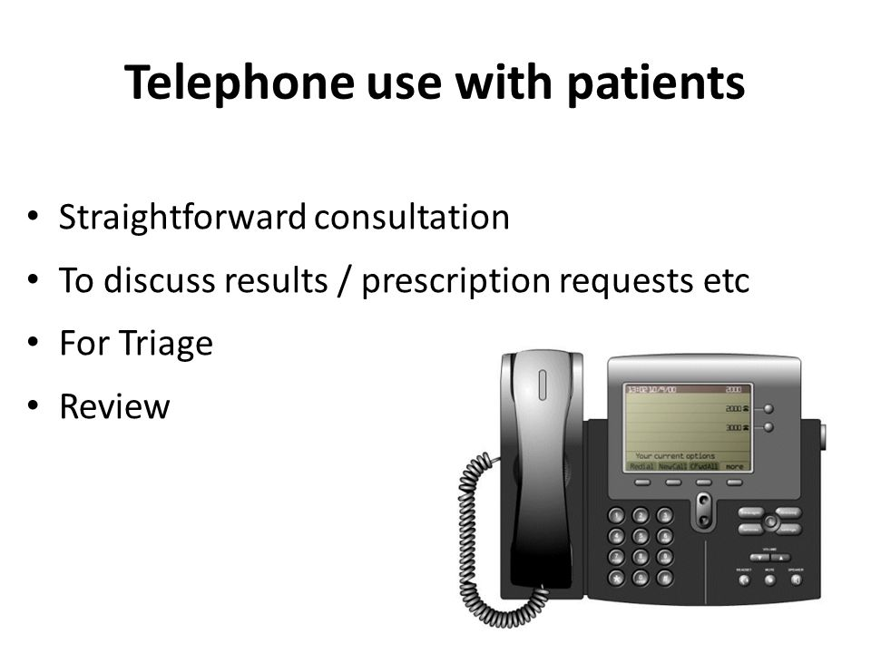 Some statistics regarding telephone consultations c.25% of primary care consultations are telephone based Up to 55% of all OOH service calls are advice only.