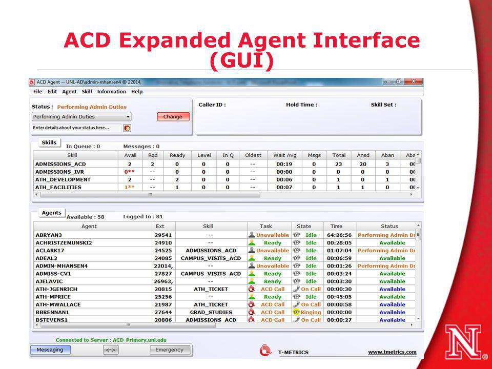 ACD Expanded Agent Interface (GUI)