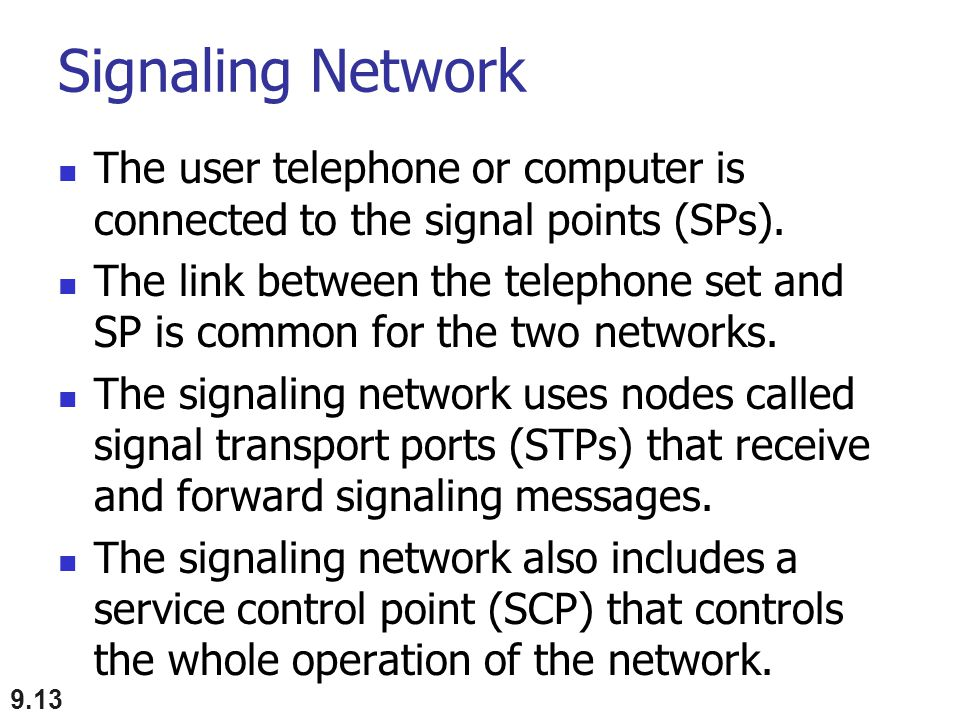 Signaling Network The user telephone or computer is connected to the signal points (SPs). The link between the telephone set and SP is common for the