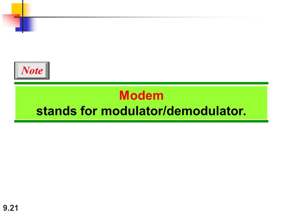 9.21 Modem stands for modulator/demodulator. Note