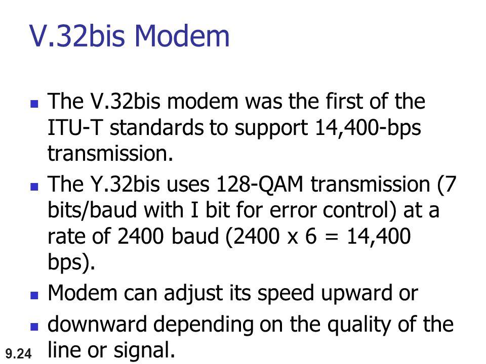 V.32bis Modem The V.32bis modem was the first of the ITU-T standards to support 14,400-bps transmission. The Y.32bis uses 128-QAM transmission (7 bits