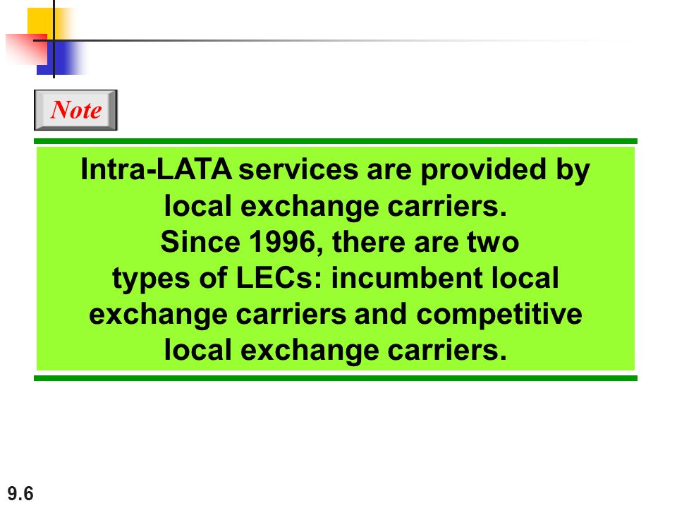 9.6 Intra-LATA services are provided by local exchange carriers. Since 1996, there are two types of LECs: incumbent local exchange carriers and compet