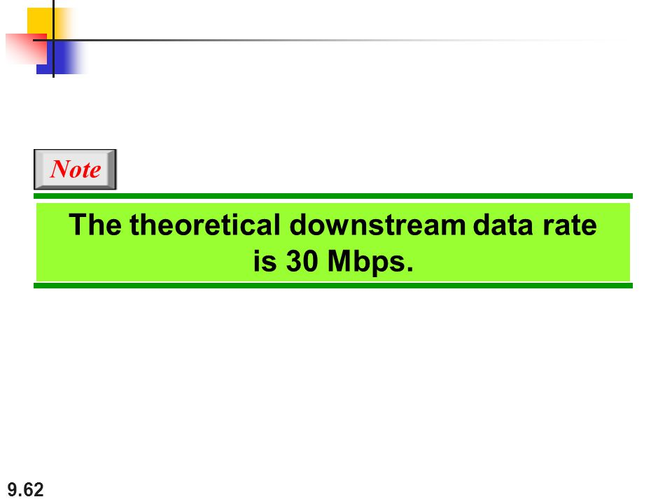 9.62 The theoretical downstream data rate is 30 Mbps. Note
