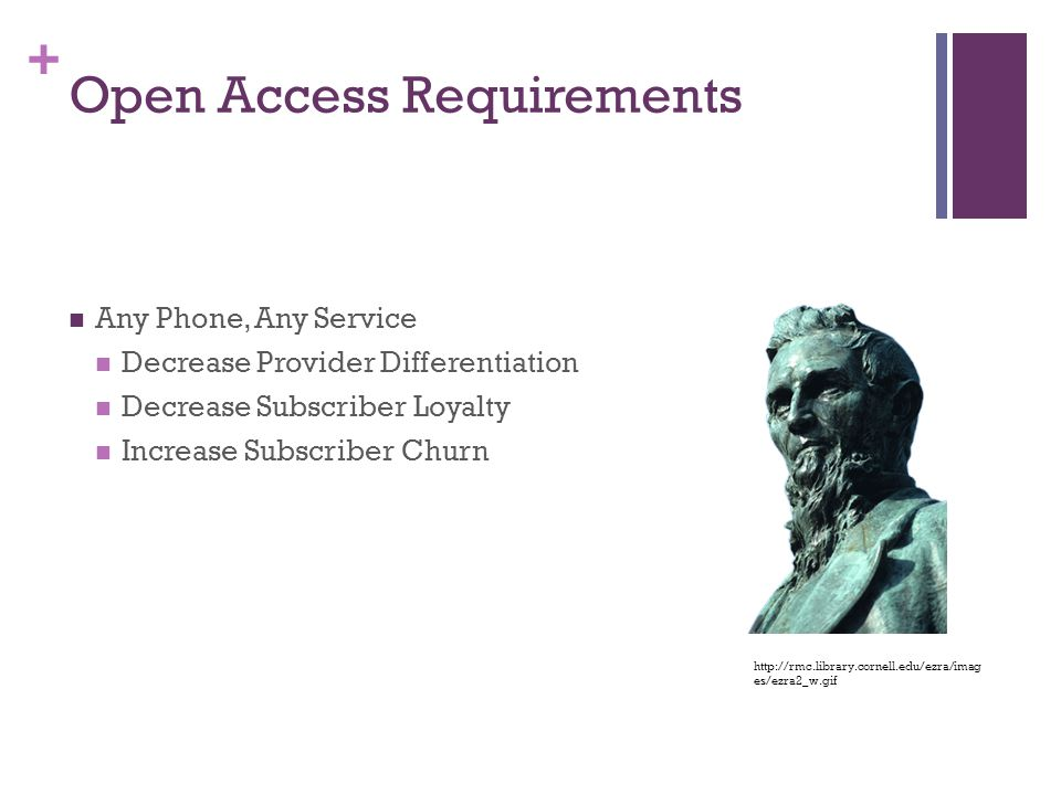 + Open Access Requirements Any Phone, Any Service Decrease Provider Differentiation Decrease Subscriber Loyalty Increase Subscriber Churn http://rmc.library.cornell.edu/ezra/imag es/ezra2_w.gif