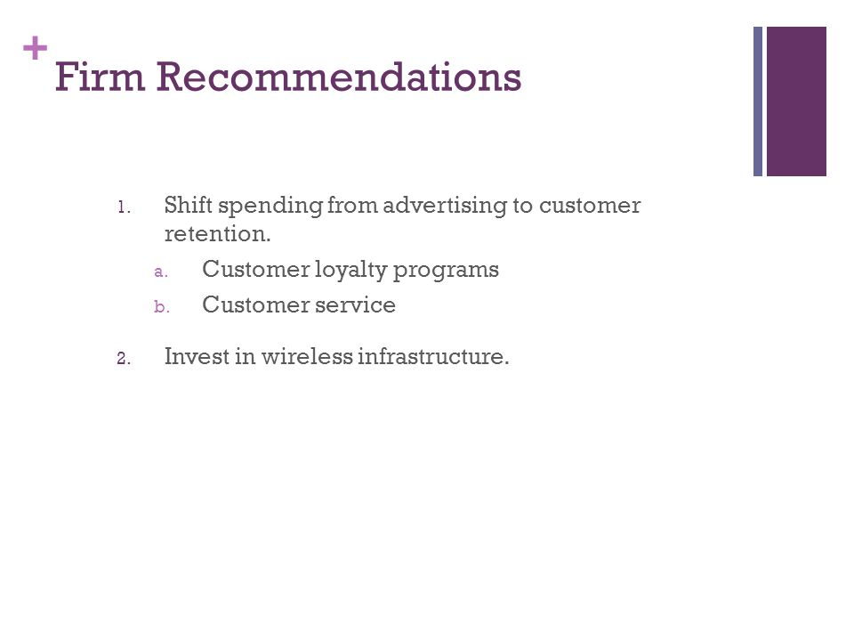 + Firm Recommendations 1. Shift spending from advertising to customer retention. a. Customer loyalty programs b. Customer service 2. Invest in wireles