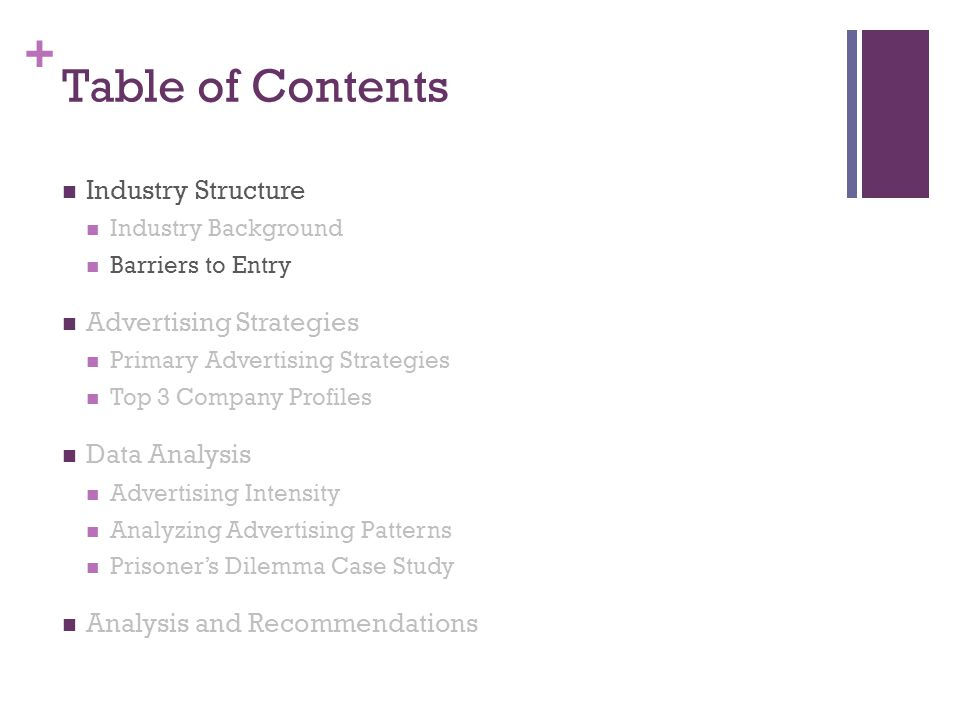 + Table of Contents Industry Structure Industry Background Barriers to Entry Advertising Strategies Primary Advertising Strategies Top 3 Company Profi