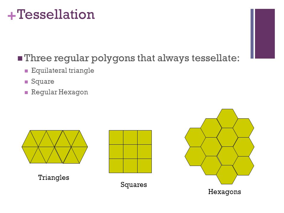 + Tessellation Three regular polygons that always tessellate: Equilateral triangle Square Regular Hexagon Triangles Squares Hexagons