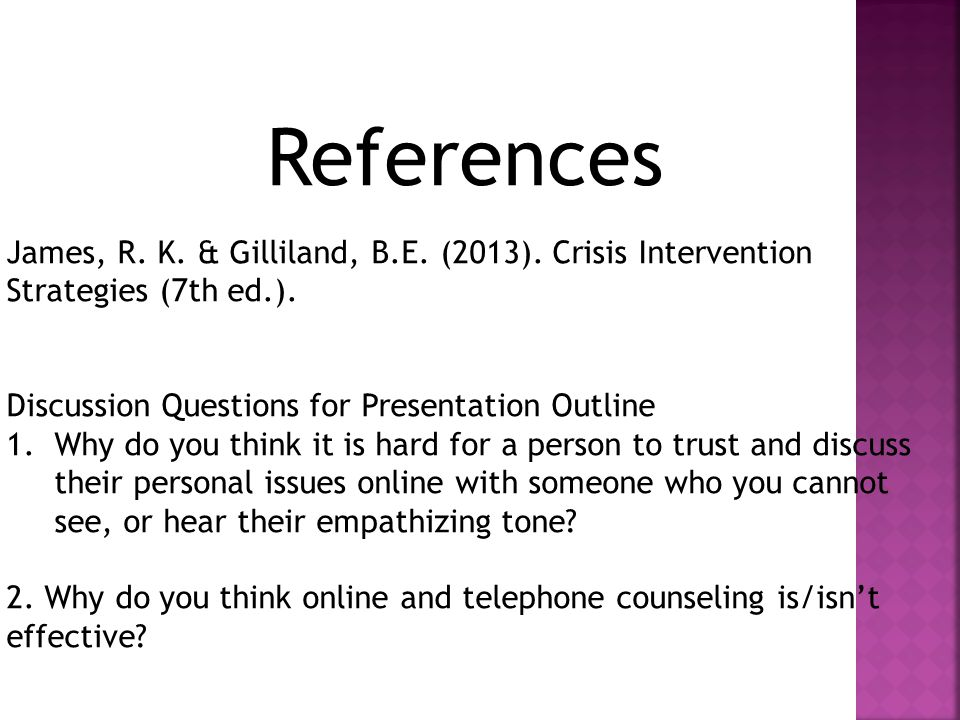 References James, R. K. & Gilliland, B.E. (2013).