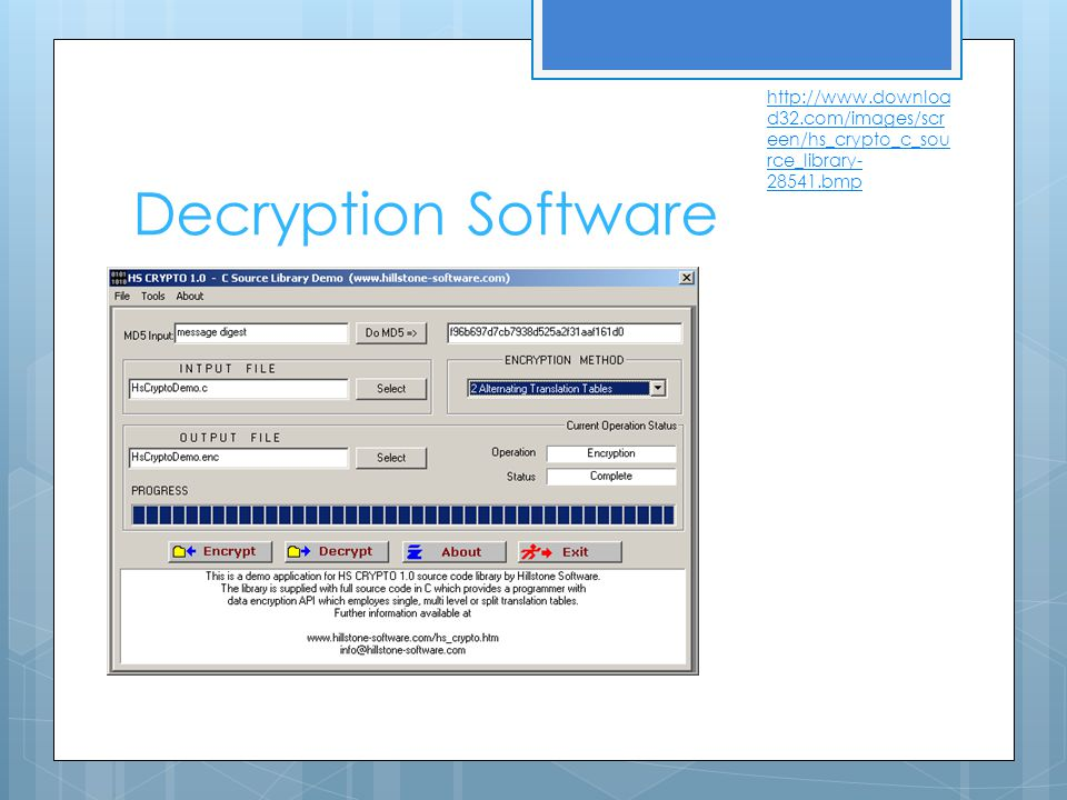 Decryption Software http://www.downloa d32.com/images/scr een/hs_crypto_c_sou rce_library- 28541.bmp