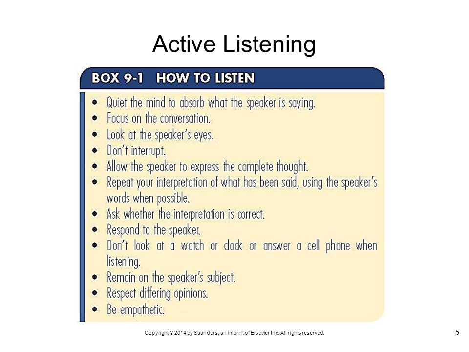 Copyright © 2014 by Saunders, an imprint of Elsevier Inc. All rights reserved. Active Listening 5