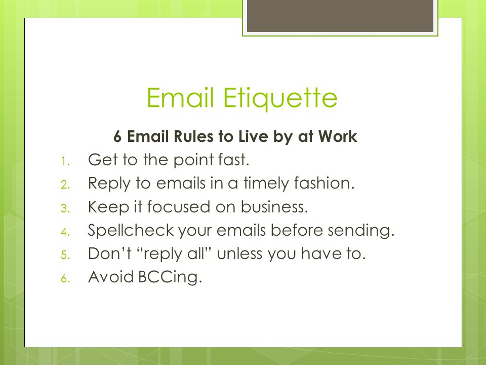 Email Etiquette 6 Email Rules to Live by at Work 1.