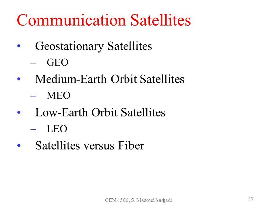 CEN 4500, S. Masoud Sadjadi 29 Communication Satellites Geostationary Satellites –GEO Medium-Earth Orbit Satellites –MEO Low-Earth Orbit Satellites –L