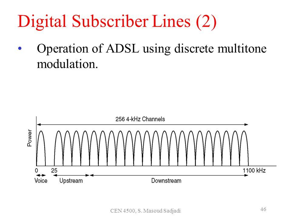 CEN 4500, S. Masoud Sadjadi 46 Digital Subscriber Lines (2) Operation of ADSL using discrete multitone modulation.