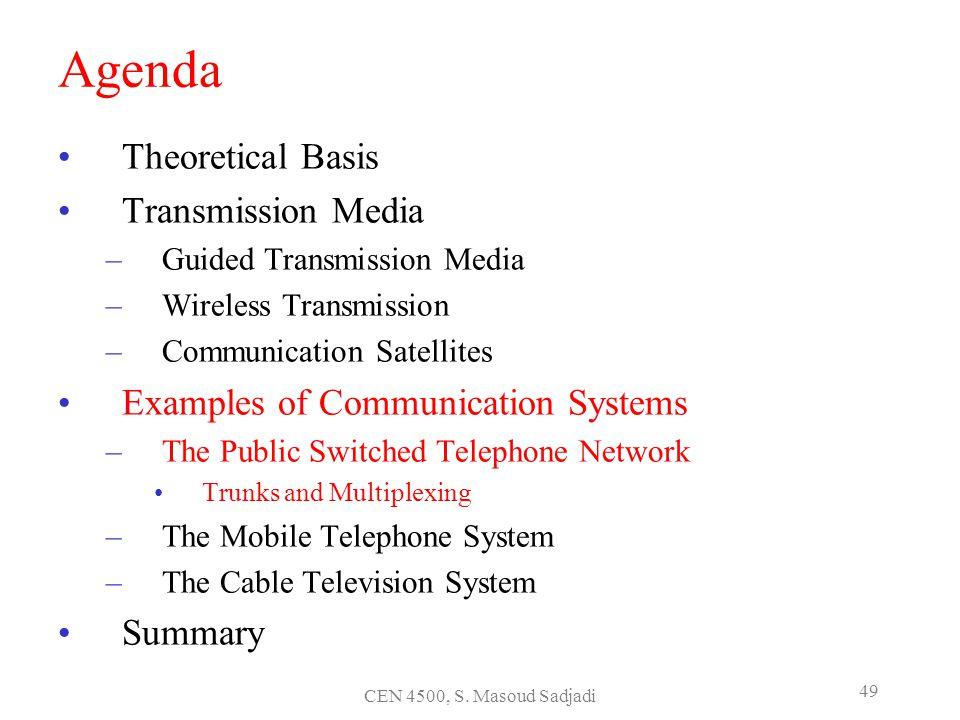 CEN 4500, S. Masoud Sadjadi 49 Agenda Theoretical Basis Transmission Media –Guided Transmission Media –Wireless Transmission –Communication Satellites