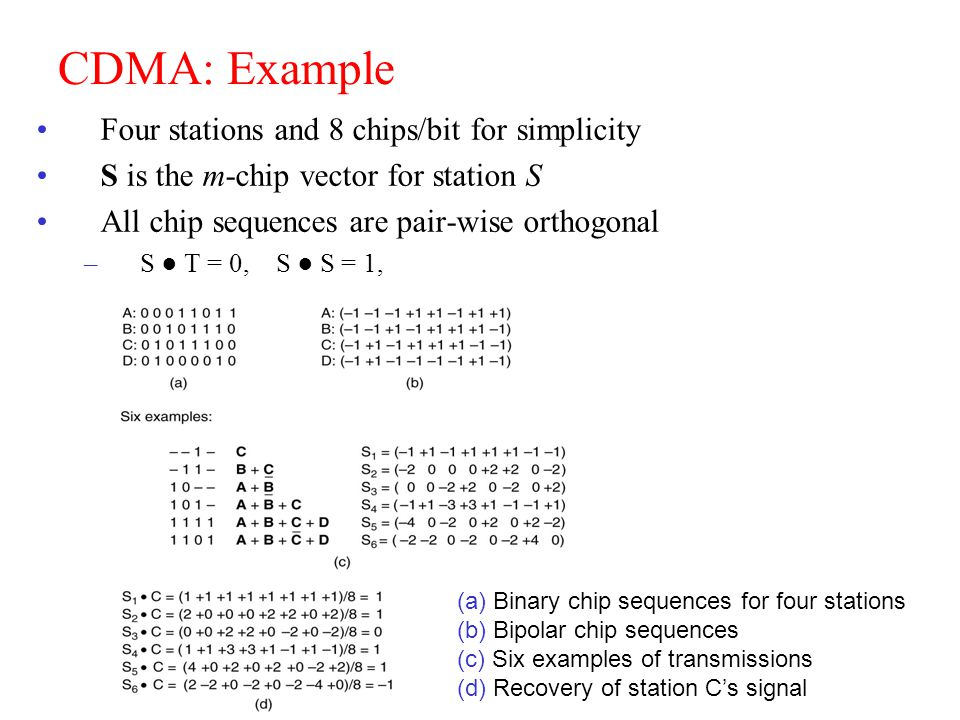 CEN 4500, S. Masoud Sadjadi 70 CDMA: Example Four stations and 8 chips/bit for simplicity S is the m-chip vector for station S All chip sequences are