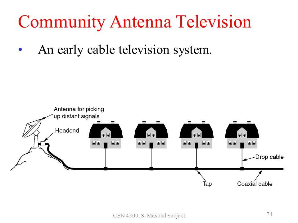 CEN 4500, S. Masoud Sadjadi 74 Community Antenna Television An early cable television system.