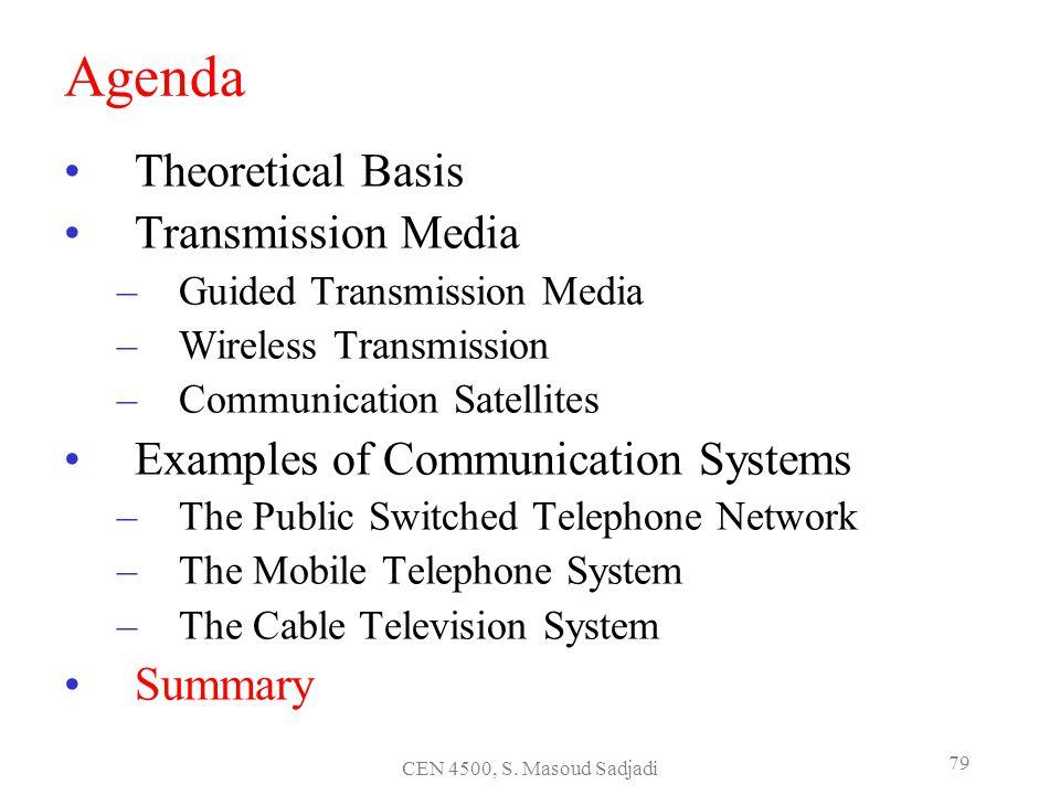 CEN 4500, S. Masoud Sadjadi 79 Agenda Theoretical Basis Transmission Media –Guided Transmission Media –Wireless Transmission –Communication Satellites