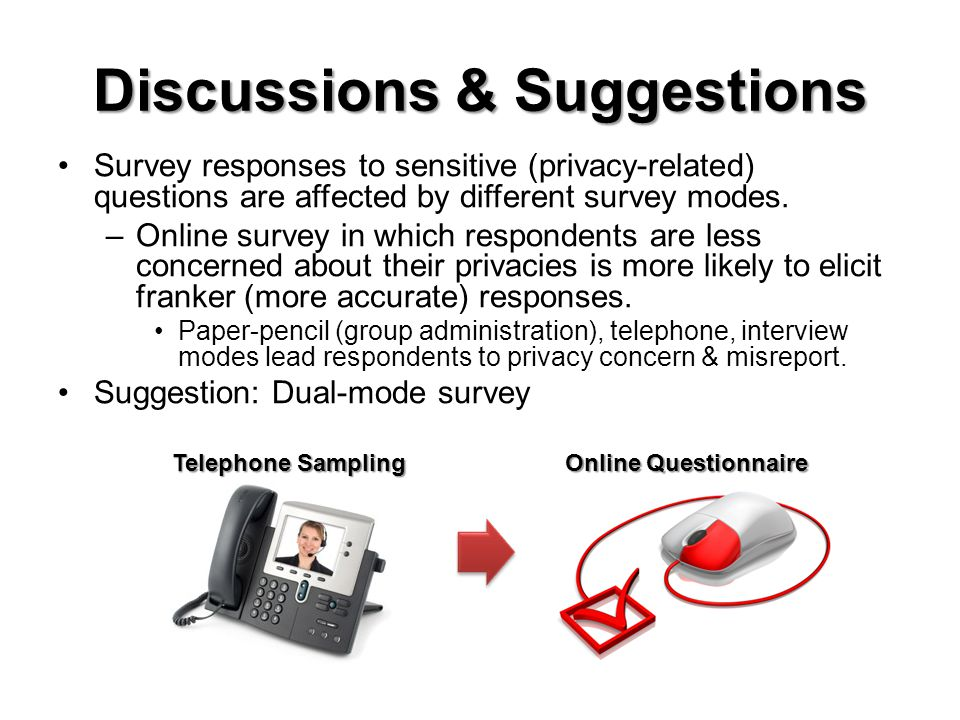 Discussions & Suggestions Survey responses to sensitive (privacy-related) questions are affected by different survey modes.