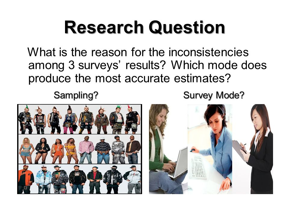Research Question What is the reason for the inconsistencies among 3 surveys results? Which mode does produce the most accurate estimates?Sampling? Su