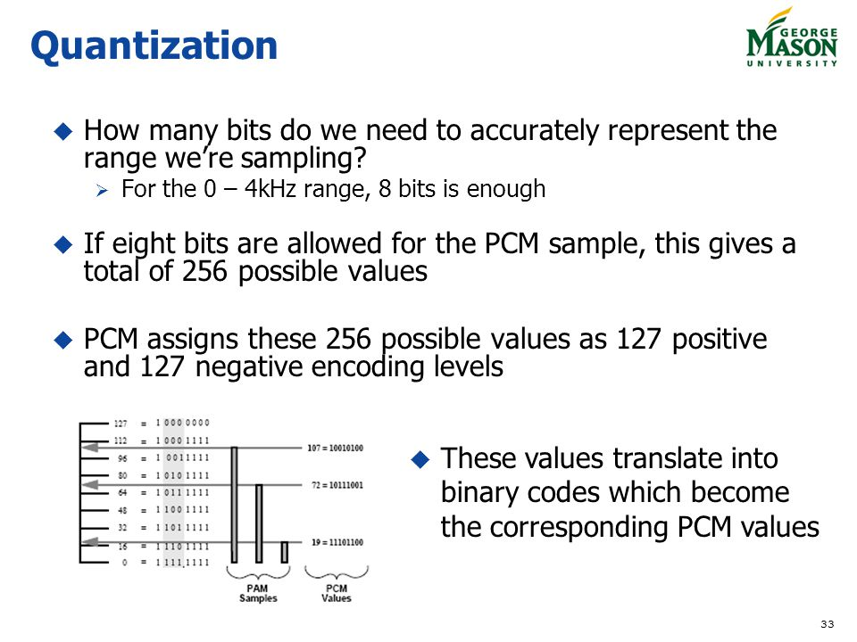 33 Quantization How many bits do we need to accurately represent the range were sampling.