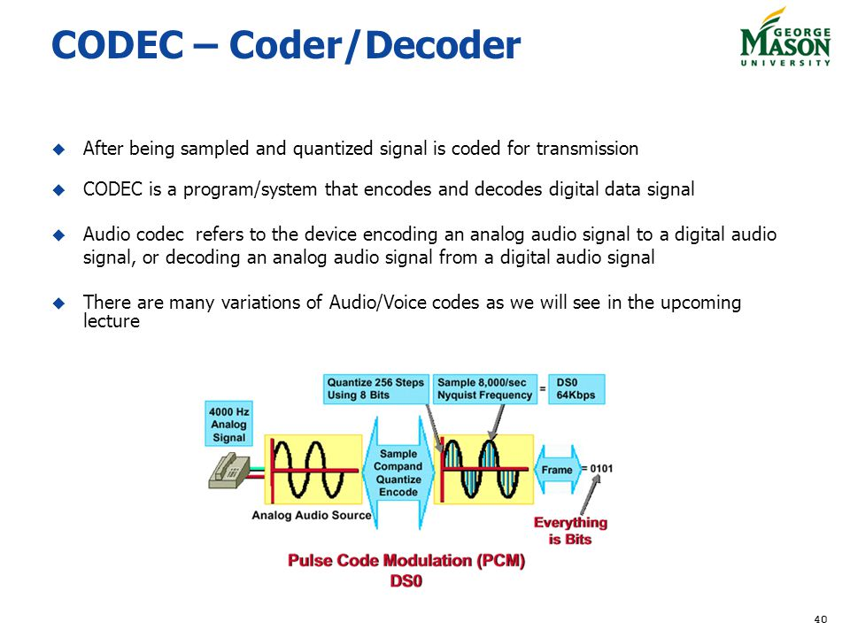 40 CODEC – Coder/Decoder After being sampled and quantized signal is coded for transmission CODEC is a program/system that encodes and decodes digital